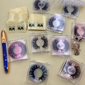 wholesale cute pink eyelash box with holographic circle